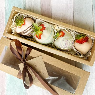Featuring strawberries hand-dipped in real, gourmet chocolate and packaged in a custom, this festive gift looks just as good as it tastes.